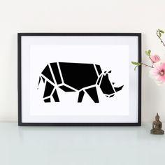 Artprint  Origami  Nashorn von Eulenschnitt via dawanda.com