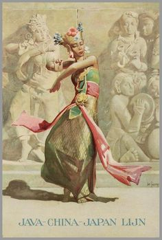 Java-China-Japan Lijn (JCJL), operated In 1947 the prefix Koninklijke (Royal) was granted and the Koninklijke Java China Paketvaart Lijnen (KJCPL) or Royal Interocean Lines operated till Poster by Dan Sweeney. Vintage Ephemera, Vintage Postcards, Old Poster, Indonesian Art, Vintage Boats, Retro Illustration, Character Illustration, Graffiti, Vietnam
