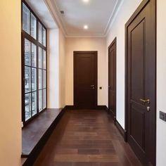 Grey Walls Living Room, Sliding Door Window Treatments, Bookcase Door, Flush Doors, Bedroom Doors, Basement Renovations, Big Houses, Unique Home Decor, Decoration