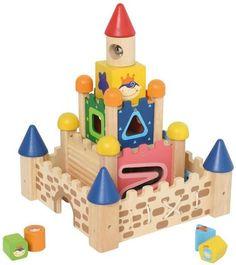 I´M Toy Motorikspielzeug Stapelburg, Massiv Holz, ab 19 Monaten, Formensortierspiel, Fädelspiel
