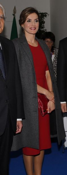 Queen Letizia attended the ceremony marking the 70th anniversary of FAO at the World Food Day at Italy's EXPO.  Before entering the  auditorium Queen Letizia covered up with her Nina Ricci tweed swing coat which she a debuted in April. October 16, 2015 in Milan, Italy.