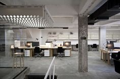 Belgrade-based architecture and design studio Petokraka have recently completed the Nova Iskra co-working space, the first design incubator in the region of Industrial Office Design, Office Space Design, Office Interior Design, Office Designs, Bureau Design, Corporate Interiors, Office Interiors, Commercial Design, Commercial Interiors