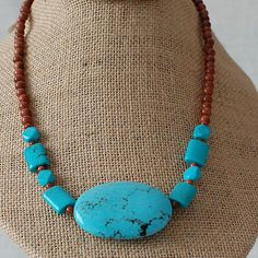 Turquoise Howlite and Goldstone Necklace