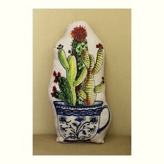Almofada Cactus Xícara Porcelana Azul com Enchimento