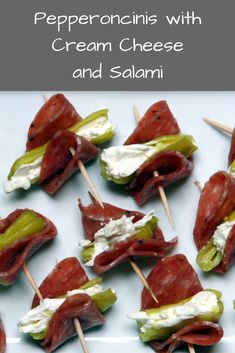 Pepperoncinis stuffed with cream cheese and salami is the perfect party appetizer. Pepperoncinis stuffed with cream cheese and salami is the perfect party appetizer. Salami Appetizer, Low Carb Appetizers, Finger Food Appetizers, Easy Appetizer Recipes, Yummy Appetizers, Appetizer Ideas, Easy Appetizers For Party, Easy Party Appetizers, Cheese Appetizers