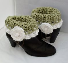 Crochet Boot Cuffs Green White Rose Key by RoseCottageCrochet