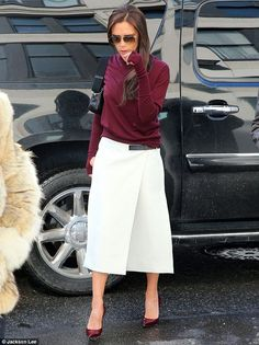 Victoria Beckham Bordeaux dark red cardigan, white skirt, bordeaux dark red shoes