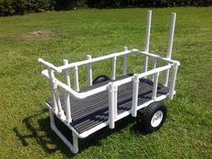 Homemade PVC fishing cart with solid wheels and ridged floor