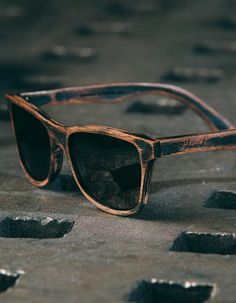 Shwood | Wooden Sunglasses | Canby | Original | Distressed Dark Walnut | Grey Polarized