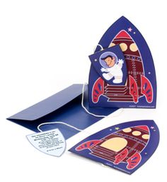 Spaceship Invitation - Outer space birthday party, rocket ship, astronaut