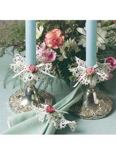 Tatted Candlestick Frills and Napkin Ring free crochet pattern of the day from freepatterns.com 8/15/13