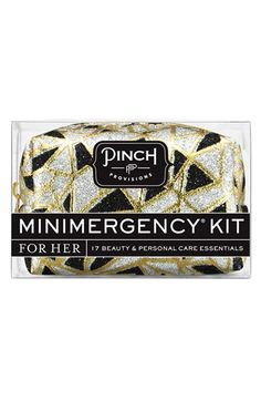 Free shipping and returns on Pinch Provisions 'Icebreaker' Minimergency Kit at Nordstrom.com. A teeny-tiny case small enough to toss in an evening bag is packed with an assortment of 17 just-in-case essentials, including a mending kit, earring backs, double-sided tape, hair spray, a stain-remover towelette and more.