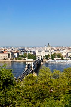 A aerial view of the Szechenyi Chain bridge over the river Danube in Budapest