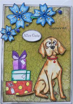 Eine neue Glückwunsch-Karte mit einem Hund, und diesmal nichts weihnachtliches...  Mir war ein wenig nach Blumen, nach Blüten, die nicht na...