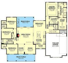 Modern Farmhouse Plan with Bonus Room - 51754HZ 1st Floor Master Suite, Bonus Room, Butler Walk-in Pantry, CAD Available, Corner Lot, Country, Craftsman, Farmhouse, PDF, Split Bedrooms, Traditional Architectural Designs