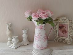 dollhouse miniature french shabby roses in a french toile pitcher
