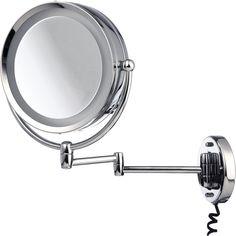 Miroir de courtoisie  Modèle Mural Mirroir pivotant Acier Inoxydable Grossissement à 5 fois Diamètre: 22 cm