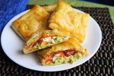Avocado, Cream Cheese, and Salsa Pockets 1 large sheet puffed pastry, thawed 1 ripe avocado, halved and mashed 1/3 cup cream cheese 1/3 cup salsa salt and pepper, sprinkled to taste 1 egg, beaten