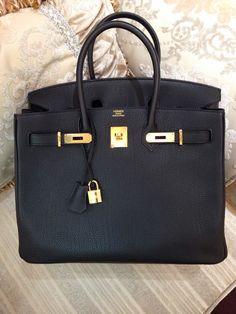 discount birkin bag - Hermes Birkin 35CM Epsom Gold Hardware R Engraved Stamp, Black ...