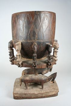 Lidded Vessel: Equestrian Figure  16th–early 20th century Mali Dogon peoples  Wood, metal staples