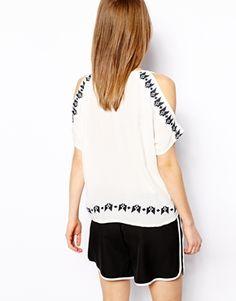 Enlarge Vila Cold Shoulder Embroidered Top