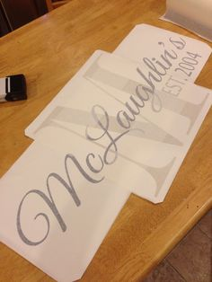 Monogrammed wall vinyl with last name overlay by StickerStatement, $30.00