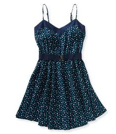Belted Dots Dress - Aeropostale