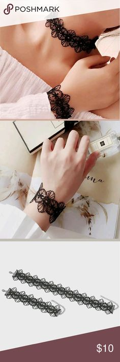 Sexy Lace Choker and bracelet set🌷🌷 New never worn.Beautiful lace fabric choker and matching bracelet are simply stunning..both pieces are adjustable.This set is sure to pull attention everytime. Don't miss out😘💕💕 Jewelry