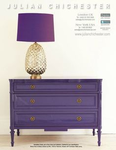 Orchid Purple painted furniture from Julian Chichester, dark purple, pantone ultra violet