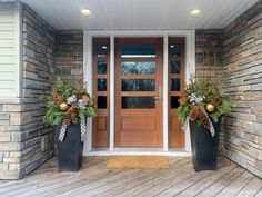 We may not be entertaining this holiday season but that doesn't mean the front door doesn't get it's holiday greens, swags and wreaths. If it's time to update your entry system, visit our website for inspiration! Exterior Doors, Gates, Garage Doors, Feels, Deck, Woodworking, Interiors, Wreaths, Entertaining