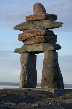 Inukshuk Rankin Inlet Nunavut Canada The compelling Inukshuk as photographed in Nunavut by George Lessard. or Inuksuk built by the Inuit meaning: Arte Inuit, Inuit Art, Ontario, Alaska, Beautiful World, Beautiful Places, Inuit People, Canada Eh, Thinking Day