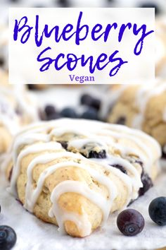These soft vegan blueberry scones are so light and airy, packed with vanilla and blueberry flavor and topped with a light sweet glaze! Blueberry Scones Recipe, Vegan Scones, Lemon Poppyseed Muffins, Vegan Blueberry, Healthy Vegan Desserts, Vegan Dessert Recipes, Delicious Vegan Recipes, Easy Recipes, Appetiser Recipes