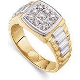 2 Tone 9 Stone Diamond Ring