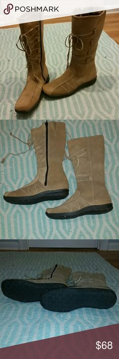 "Gorgeous suede lace-up boots Brand new suede boots.  Lace-up.  Never worn. Excellent condition except that one tassel on the end of one shoelace is missing. NWOT. 14 1/2"" high. Fleece lining inside. Shoes Lace Up Boots"