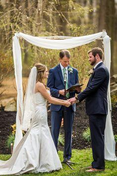 Lexi & Steve's ceremony in the Glen. Philadelphia Wedding, Photo Credit, Engagement Session, Gazebo, Clouds, Wedding Dresses, Photography, Bride Dresses, Kiosk