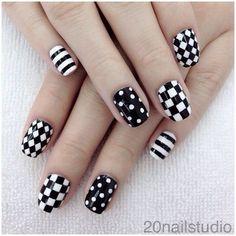 Black and White Polka Dots Plaid Stripes Nails