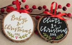 Hand painted and hand lettered tree slice ornament. Babys 1st Christmas…