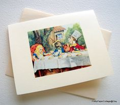Alice In Wonderland Mad Hatter Note Cards by PrettyPaperCottage