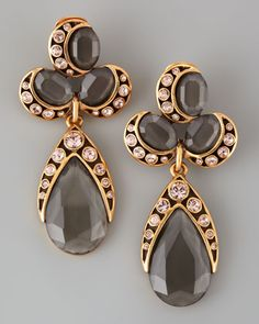 Oscar de la Renta Faceted Cluster Teardrop Earrings, Gray/Pink - Bergdorf Goodman