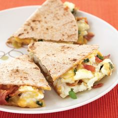 At only 300 calories per serving, this decadent bacon and egg breakfast quesadilla packs a whopping 36 grams of protein, enough to power your whole morning!