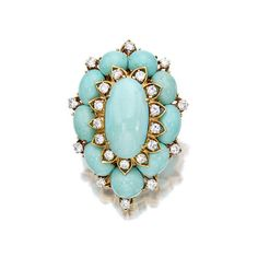 A turquoise and diamond brooch, Van Cleef & Arpels