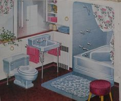 1947 bathroom in Claire de Lune Blue