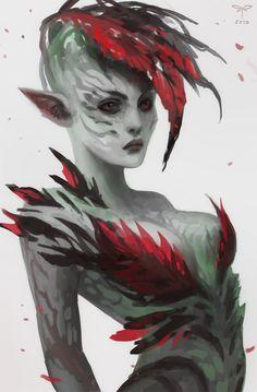 - Sylvari Elementalist Fanart by telthona on DeviantArt Fantasy Character Design, Character Creation, Character Design Inspiration, Character Concept, Character Art, Concept Art, Fantasy Races, Sci Fi Fantasy, Dark Fantasy