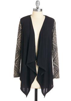 Can't Cardi Wait Cardigan - Long, Knit, Black, Print, Casual, Long Sleeve, Black, Long Sleeve, Tan / Cream Modcloth $39.99
