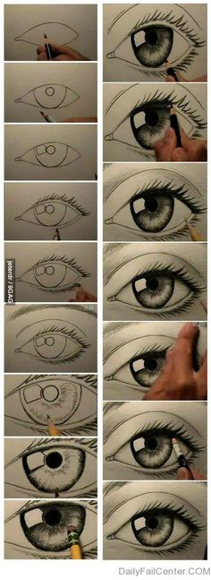 How to draw a realistic eye steps
