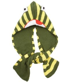 Age 5 to 11 Dizzy Frog Knitted Hooded Scarf