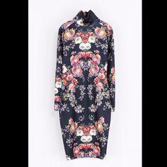 8e5efd8ab3a3ef Shop Women s Zara Purple Pink size M Midi at a discounted price at  Poshmark. Description  EUC like new turtle neck line Floral print scuba  material very ...