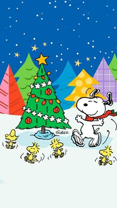 Snoopy around the Christmas Tree.