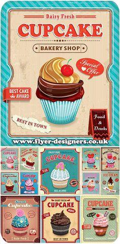 cupcake company flyer design ideas www.flyer-designers.co.uk #cupcakeflyer #cupcakegraphics #cupcakes