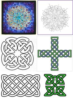 Many countries celebrate St. Patrick& Day with parades, green attire, and - occasionally - green beer. How about a green quilt? Here are fr. Quilting For Beginners, Quilting Tutorials, Quilting Designs, Quilting Projects, Celtic Patterns, Celtic Designs, Free Pattern, Pattern Design, 2d Design